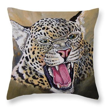 Throw Pillow featuring the painting Yawn by Anthony Mwangi