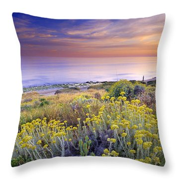 Yellow Flowers At The Sea Throw Pillow by Guido Montanes Castillo