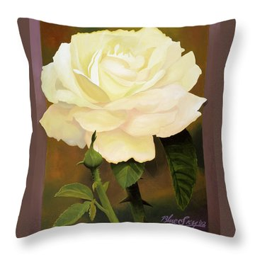 Yellow Rose Throw Pillow by Blue Sky