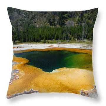 Yellowstone Emerald Pool Throw Pillow
