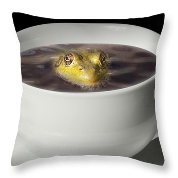 Yikes There Is A Frog In My Java Throw Pillow by Randall Nyhof