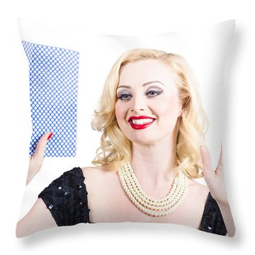 Young Housewife Cleaning Empty Copyspace Window Throw Pillow