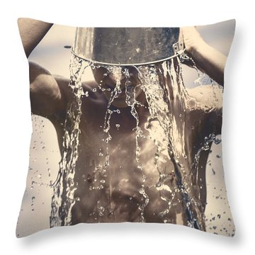 Young Man Having Fun On A Tropical Summer Holiday Throw Pillow by Jorgo Photography - Wall Art Gallery