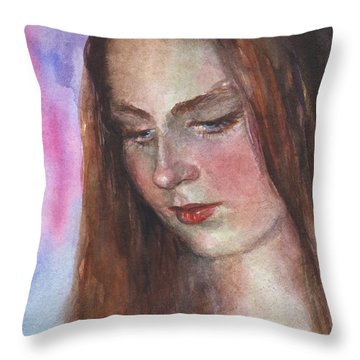 Young Woman Watercolor Portrait Painting Throw Pillow by Svetlana Novikova