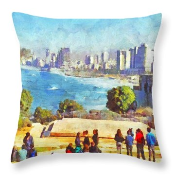 Youth Groups In Tel Aviv Throw Pillow