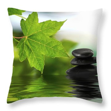 Zen Stones On Water Throw Pillow