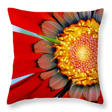 Zinnia In Red Throw Pillow by Wendy Wilton