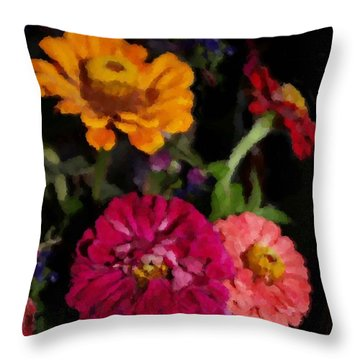 Zinnias In July Throw Pillow