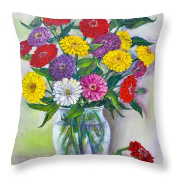 Old Fashioned Zinnias Throw Pillow
