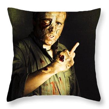 Zombie Death Threat Throw Pillow