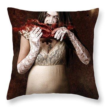 Zombie Vampire Woman Eating Human Hand Throw Pillow