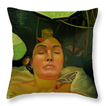 Throw Pillow featuring the painting 10 30 A.m. by Thu Nguyen