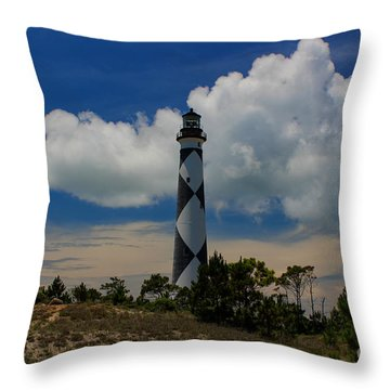 Cape Lookout Lighthouse Throw Pillow by Tony Cooper