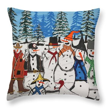 10 Christmas Snowmen  Throw Pillow by Jeffrey Koss
