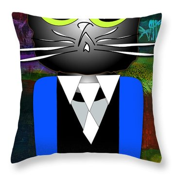 Cool Cat Throw Pillow by Marvin Blaine