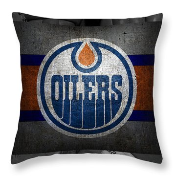Edmonton Oilers Throw Pillow by Joe Hamilton