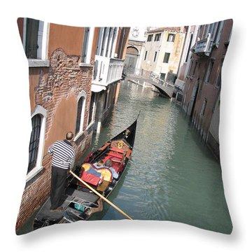 Gondola. Venice Throw Pillow by Bernard Jaubert