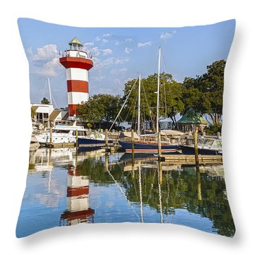 Lighthouse On Hilton Head Island Throw Pillow