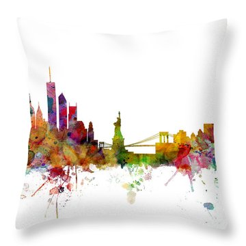 New York Skyline Throw Pillow by Michael Tompsett