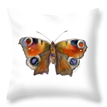 10 Peacock Butterfly Throw Pillow by Amy Kirkpatrick