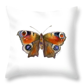 10 Peacock Butterfly Throw Pillow
