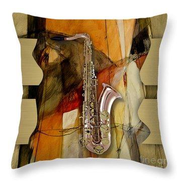Saxophone Collection Throw Pillow