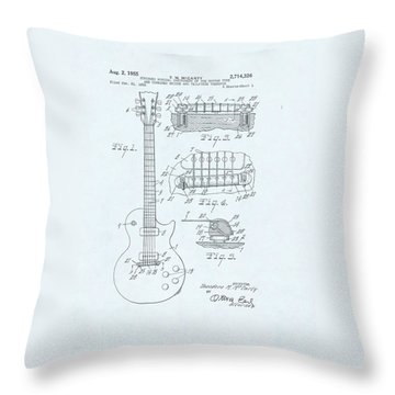 Guitar Patent Drawing On Blue Background Throw Pillow