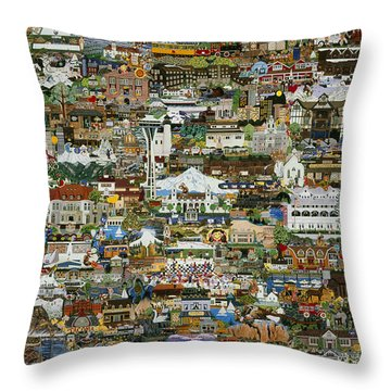 100 Painting Collage Throw Pillow by Jennifer Lake