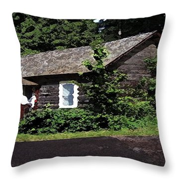 10004600133 Lake Mcdonald Outer Cabins Throw Pillow by Garland Oldham