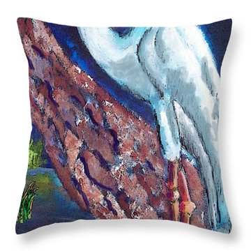 1004397egret Throw Pillow by Garland Oldham