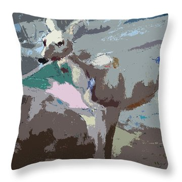 100814 Doe In Red Woods California Throw Pillow