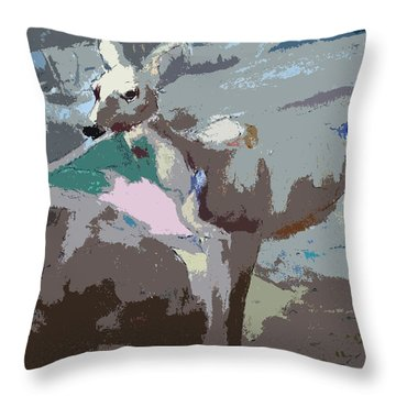 100814 Doe In Red Woods California Throw Pillow by Garland Oldham