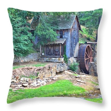 Sixes Mill On Dukes Creek Throw Pillow