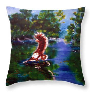 1044426 Digital Eagle Throw Pillow by Garland Oldham