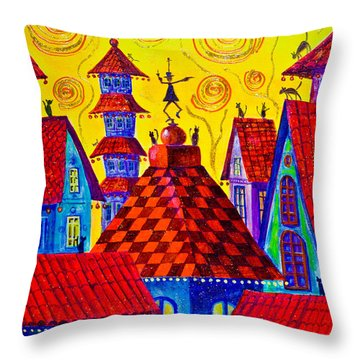 1099 Magic Town 4 - Gilded Throw Pillow