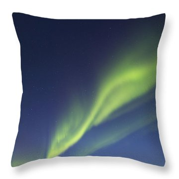 Aurora Borealis With Moonlight Throw Pillow by Joseph Bradley