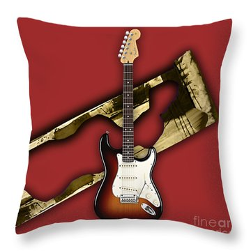 Fender Stratocaster Collection Throw Pillow by Marvin Blaine