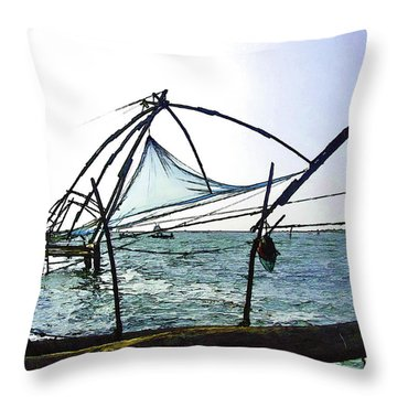 Fishing Nets On The Sea Coast In Alleppey Throw Pillow by Ashish Agarwal