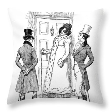 Scene From Pride And Prejudice By Jane Austen Throw Pillow by Hugh Thomson