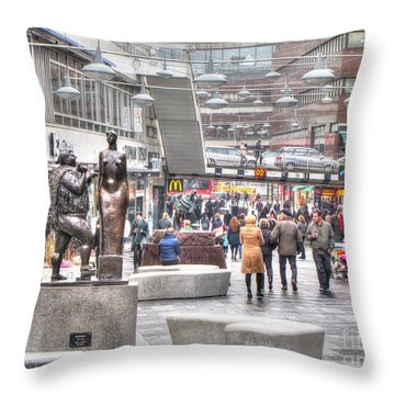 Throw Pillow featuring the pyrography Stokholm Swiss by Yury Bashkin