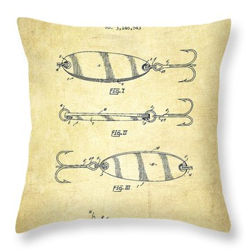 Vintage Fishing Lure Patent Drawing From 1964 Throw Pillow