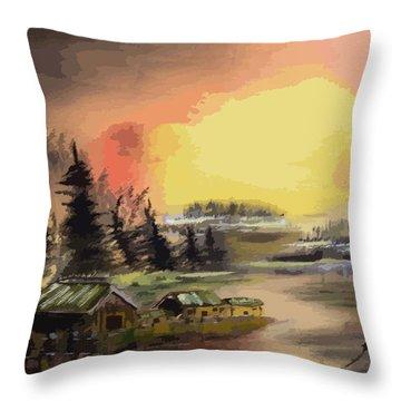 110214fa Fishing Camp Throw Pillow