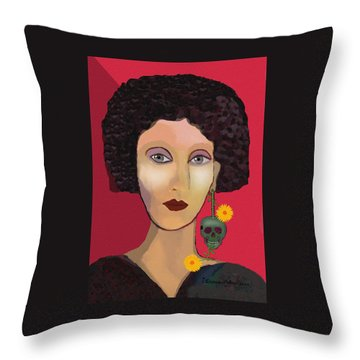 1110 - Lady With Ear Jewel Throw Pillow by Irmgard Schoendorf Welch