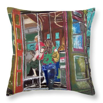 111708 New Orleans Street Car  Throw Pillow by Garland Oldham