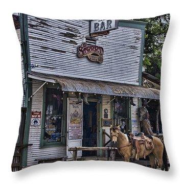 11th Street Cowboy Bar In Bandera Texas Throw Pillow by Priscilla Burgers