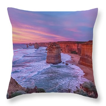 12 Apostles At Sunset Pano Throw Pillow