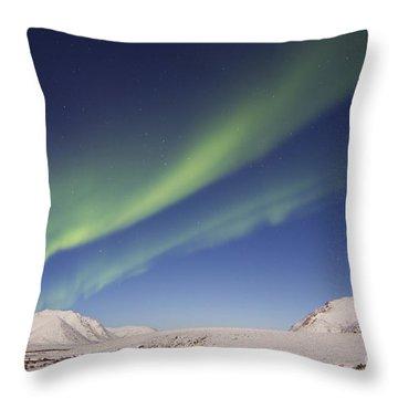 Aurora Borealis With Moonlight Throw Pillow by Joseph Bradley