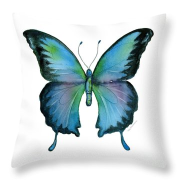 12 Blue Emperor Butterfly Throw Pillow