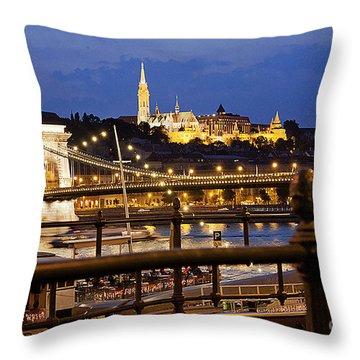 Budapest By Night Throw Pillow by Odon Czintos