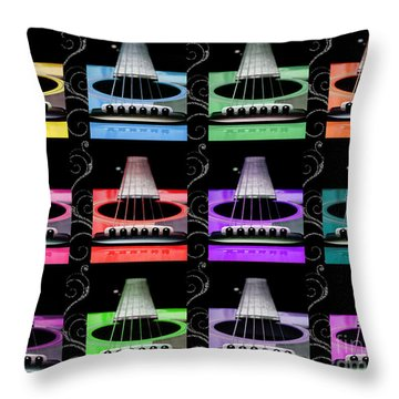 12 Color Guitars Throw Pillow by Andee Design